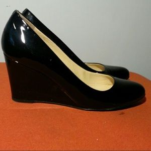 J. Crew Patent Black Wedges 5.5